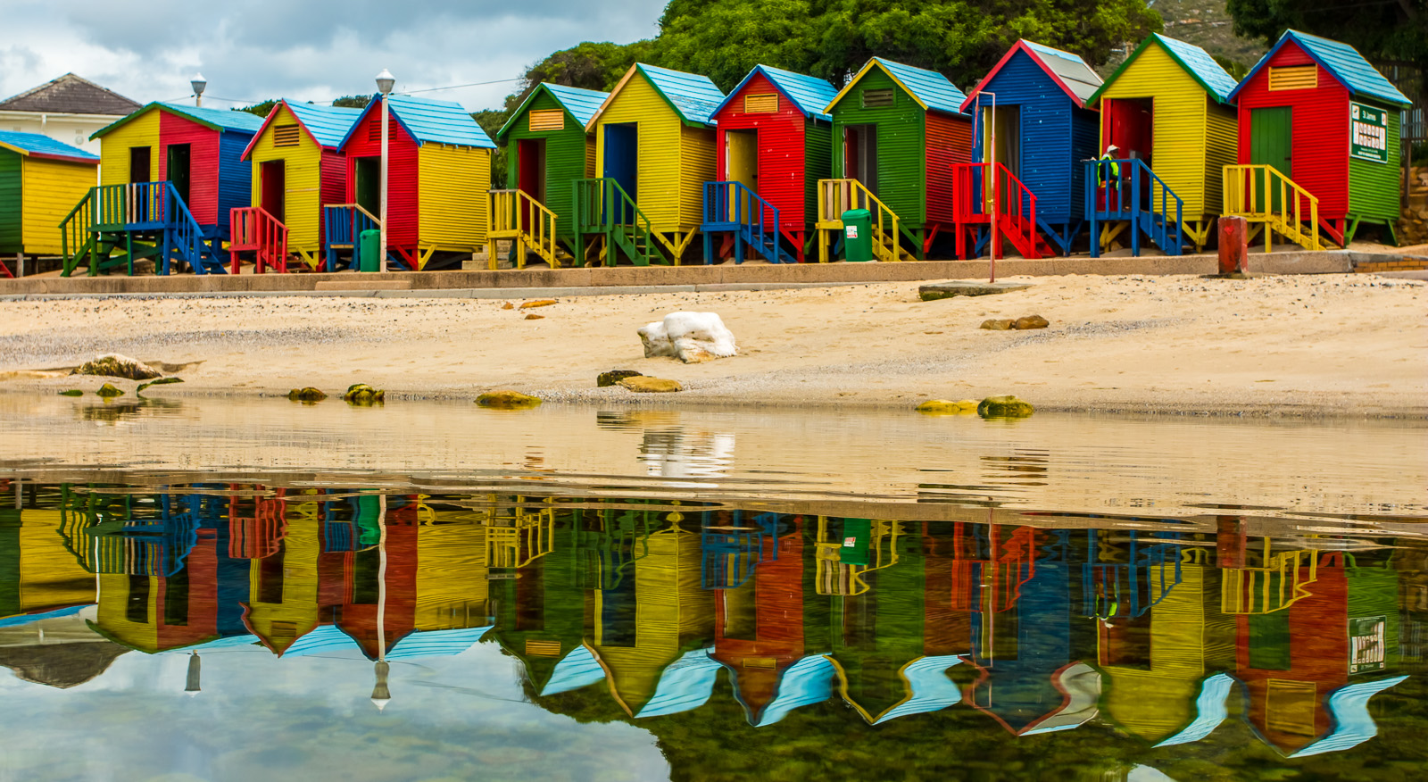 St James' Beach Hut Reflection
