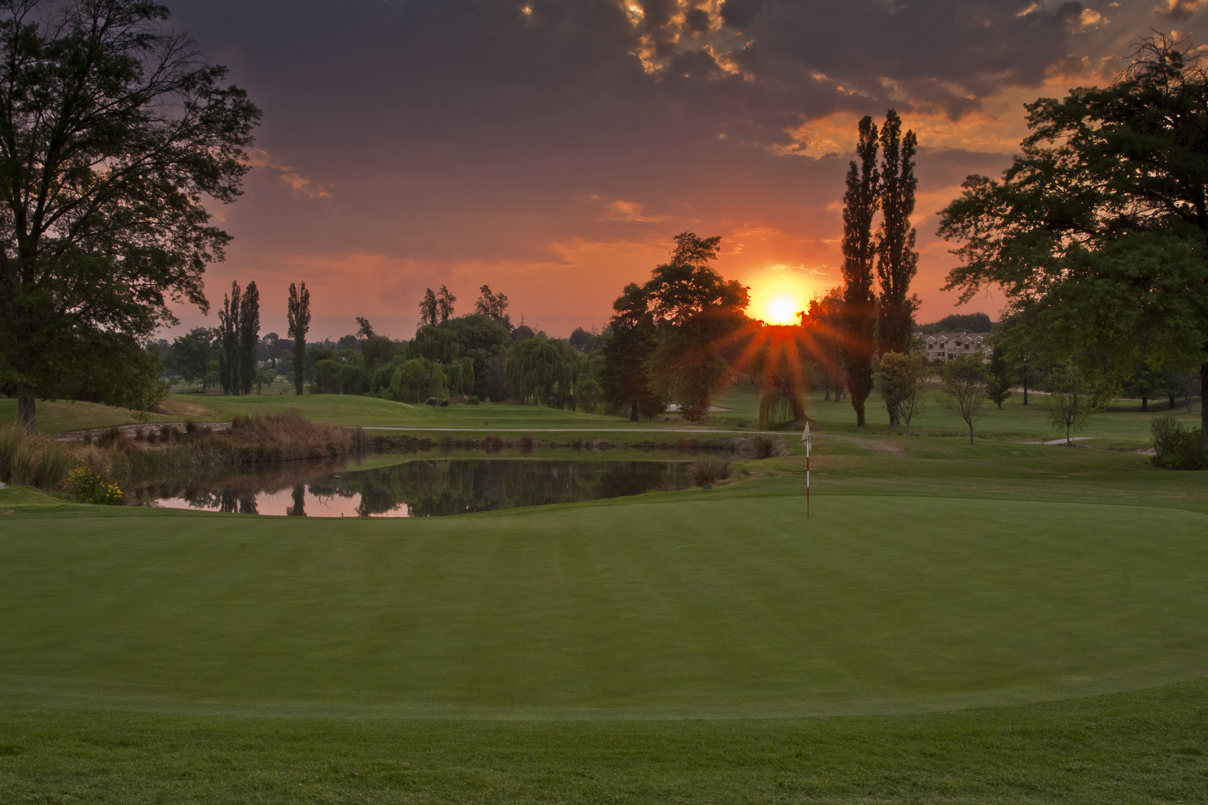 Sunset over the 16th hole on Royal Johannesburg & Kensington's East Course
